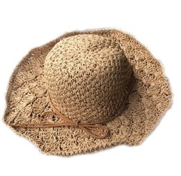 222f1869798 Straw hat female summer small fresh Korean version of the big eaves can be  folded beach hats sunshade travel hats