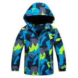 boys camouflage jacket 2019 - Windproof Full Sleeve Plus Size Boys Coat Camouflage Hooded Cartoon Sport Clothing Waterproof Hot Sale Children Skiing J