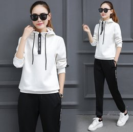 Wholesale 2018 sports running clothes fitness new Korean version of the sportswear suit women s casual long sleeved slim sweater two sets of tide