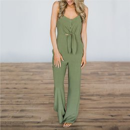 Fashion Cotton Women Jumpsuit NZ - Wholesale free shipping Sexy Sleeveless Outfits V-Neck Beach Summer Women Fashion Backless Cotton Jumpsuits Long Overalls