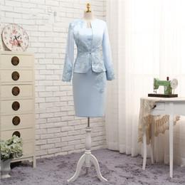 Vente en gros 2018 fengyudress plus la taille bleu mère de la mariée robes gaine avec veste appliques dentelle robe de soirée de mariage mère robe pour mariage