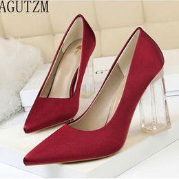 Large Size 34-43 Woman Pumps Sexy Transparent PU Heel Wedding Shoes Women s  Concise Silk Shallow High Heels Female Office Shoes 0074da9c24e7