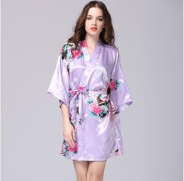 2018 HOT SELL Women Silk Satin Wedding Bride Bridesmaid Floral Bathrobe  Short Kimono Robe Night Robe Bath Robe Dressing Gown ec2e15c79