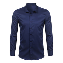 High Quality Mens Shirts Canada - High Quality Bamboo Fiber Mens Dress Shirts 2018 Spring New Long Sleeve Solid Social Shirts Male Work Casual Chemise Homme 4XL
