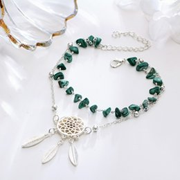 Stylish Pendants For Women NZ - Stylish Beach Anklet Hollow Dream Catcher Foot Jewelry Feather Pendant Anklet Beach Irregular Turquoise Fashion Anklet For Women Gift H375F