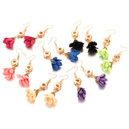red rhinestone earrings 2019 - New Noosa 12mm snaps Earrings Jewelry Vintage tassel snap button gold Dangle Earrings Noosa Metal Jewelry for girl gift