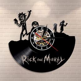 mechanical light 2018 - Retro Nostalgia Wall Clock Rick And Morty Theme Personalized Vinyl Creative Clocks Record Shape Cartoon With Led Light 6