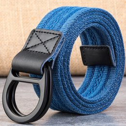 Wholesale Men and women use double loop canvas belt leisure jeans woven cowhide belt outdoor weaving fashion trend