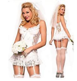 810378e2b2 Wholesale White lace wedding Underwear wedding dress with garter button see  through sexy pajamas bridal Undergarments