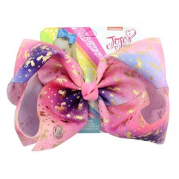 $enCountryForm.capitalKeyWord NZ - JOJO 6 colors 8 inch Girls Baby Large hairpin Rainbow HAIR BOW with card and sequin logo Children Hair Accessories fashion hair clip