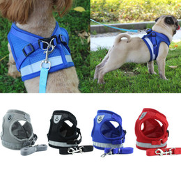 walking harnesses for large dogs NZ - Dog Harness for Chihuahua Pug Small Medium Dogs Nylon Mesh Puppy Cat Harnesses Vest Reflective Walking Lead Leash Petshop