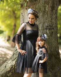 Cute Casual spring outfits online shopping - Family Matching Black Outfits Lace Dress Dot Frill Stranslucent Skirts Baby Designer Ruffle Long Sleeve Mom Daughter Matching Cute Outfits