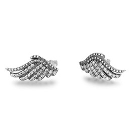 pewter charms UK - Charm Oxidized Angel Wing Earrings feather Antique 925 sterling silver charm pewter stud earring birthday present 2019 jewelry in China