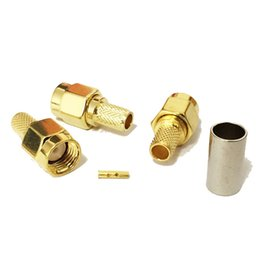 $enCountryForm.capitalKeyWord UK - 100 pcs RP SMA male plug RF coaxial connector crimp for RG58 Straight goldplated