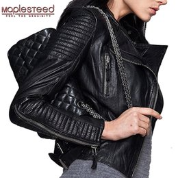 cd63af9bb356a Discount black leather bomber jacket women - Wholesale- MAPLESTEED Genuine Leather  Jacket Women Leather Jacket