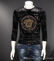Venta al por mayor de Mens Brand DIAMOND Diseñador Velvet Tshirts VER Moda de lujo de manga larga Tops SACE