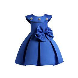 elegant princess gowns for kids 2018 - elegant girl dress sleeveless noble formal solid bow princess dress for 3-10yrs girls kids children party wedding gown p