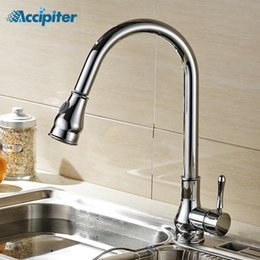 Kitchen Tap Pull Out Swivel Australia - Pull out Kitchen Faucet Kitchen Mixer Tap Cold and Hot Water Single Hole 360 Degree Swivel Dual Sprayer Nozzle Sink Faucet