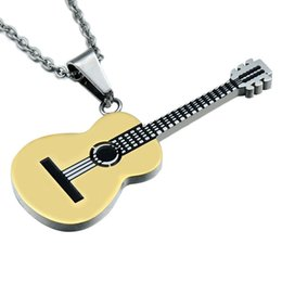 $enCountryForm.capitalKeyWord Canada - New Stainless Steel Classical Guitar Pendant Rock Two Tone Gold Color Titanium Stainless Steel Music Guitar Pendant Necklace for Men Jewelry