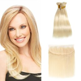 Discount brazilian platinum blonde hair extensions - 613 Blonde Extensions With Frontal Ear To Ear Straight Honey Blonde Virgin Human Hair Weave 3 Bundles with Closure 613#