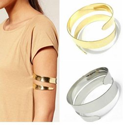Discount wholesale exaggerated bracelet - hot style European and American hot sell punk exaggerated metal smooth face double - layered snake arm ring arm bracelet
