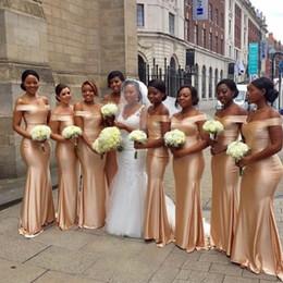Discount pink bridesmaid dressing gown silk - Custom Made Bridesmaid Dresses Off Shoulder Mermaid Formal Party Gowns Back Zipper Sweep Train Custom Made Long Bridesma