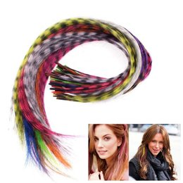 Hair Feathers Tools Australia - 20 pcs set 16 Inch Straight Multicolour Synthetic Feather +tools set for Hair extensions Party Clothing Accessories DIY Craft Decoration