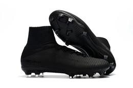 China Boy Girl Soccer Cleats Full Black 100% Original Kids Indoor Soccer Shoes Children Mercurial Superfly V FG SX Neymar Jr Womens Football cheap fg soccer shoes boys suppliers