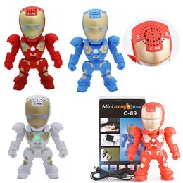 $enCountryForm.capitalKeyWord Australia - C-89 Bluetooth Mini Speaker Iron Man With LED Flash Light Arm Figure Robot C89 Portable Mini Wireless Subwoofers TF FM USB Card