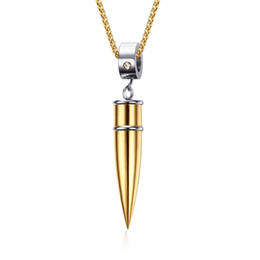 $enCountryForm.capitalKeyWord UK - 4 Styles Mens Bullet Necklace & Pendant Titanium Stainless Steel 24'' Cuban Link Chain Rocket Pendants For Men Promise Unswervingly Jewelry