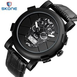 Discount pirates watches - Hot Dropship Unique SKONE Pirate Skeleton Skull Quartz Men Watches Luxury Waterproof Leather Men Sports Watch Relogio Ma
