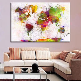 World map canvas oil painting australia new featured world map canvas paintings wall art for living room hd prints 1 piece pcs world map posters color watercolor abstract pictures home decor gumiabroncs Images