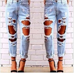 c5f0c25e3817d Fashion Womens Destroyed Ripped Jeans Distressed Hole Jeans Trousers Wild  Sexy Exaggerated Big Hole Beggar Boyfriend Jeans Multi Holes Hot