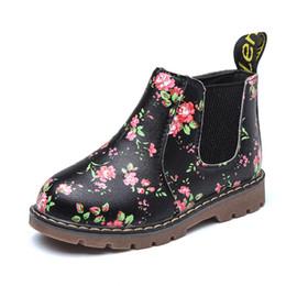 32927408e19 Botines para niños Chicas Niños Floral Estampado de flores Botas Chelsea  Niñas Otoño Martin Botas Niños Zapatos de invierno tamaño 21-36