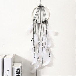 $enCountryForm.capitalKeyWord Australia - White Feather Wind Chimes Vintage Handmade Dreamcatcher Dream catcher Net Feather Bead Car Wall Hanging Ornament Party Decoratio