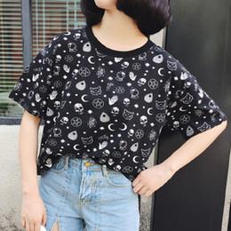 Black Shirt Loose Skull Australia - Blackest Gothic Tee Moon Witchcraft Cat Printed Harajuku Short T-Shirt Women Tops Loose Summer Skull T Shirt For Goth Wind 2018