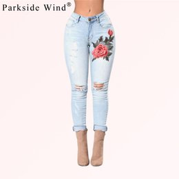 Wholesale wind pants women for sale - Group buy PARKSIDE WIND Floral Embroidery Jeans Female Casual Pencil Denim Pants Jeans Women Fashion Pocket High Waist Trousers KWA0252