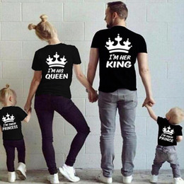 02b8a701 2018 Summer Matching Family Clothes Casual Solid Short Sleeve Cotton T-shirt  King Queen Couples T shirt Crown Printed Funny Tops