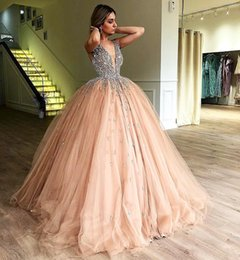 Discount bone balls - Luxury Crystals Ball Gown Prom Dresses 2018 V Neck Champagne Tulle Plus Size Sequined Sweet 16 Arabic Dubai Quinceanera