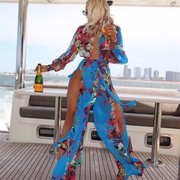 Wholesale chiffon swimsuit online – Summer Bikini Set Woman Swimsuit Lady Swimwear Femme Sexy Cover Up Chiffon Plus Size Flower Dress Long Beach zn V