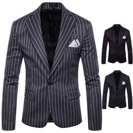 Hommes Slim Fit Costumes De Haute Qualité Hommes Costumes Single Button Blazers À Manches Longues À Rayures Design Mariage Homme Costume Hommes Vêtements Été Hommes Costumes