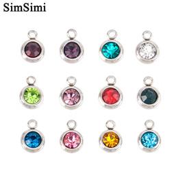 Color Stone Charms Australia - Wholesale 12pcs lot DIY Charm Pendant 6mm Birth Stones for Bracelets Necklace Mini Crystal Color Personalized Fashion Jewelry