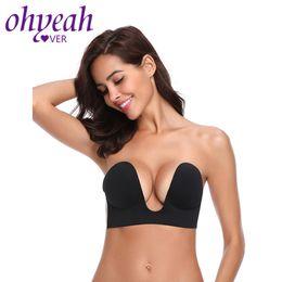07442cd338 wholesale Strapless Self-Adhesive Bra Invisible Push Up Bras Stick On  Backless Brassiere Deep U Plunge Formal Dress Bra BM029