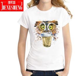 $enCountryForm.capitalKeyWord Canada - Women's Tee Fashion Women T Shirt Funny Multicolour Psychedelic Owl Drink Coffee Printed T-shirt Cotton O - Neck Cool Tee Brand Clothing