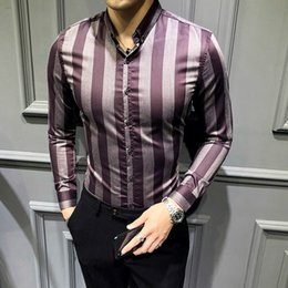 Shirt Korean Designs Australia - 2018 autumn and winter new stitching stripe design Slim long-sleeved shirt Korean version of the tide casual business shirt
