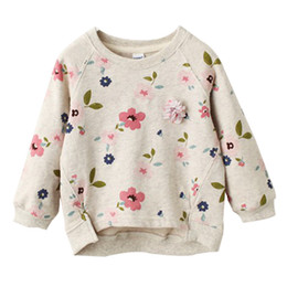 Kids Floral Pullover Sweater Boat Neck Long Sleeve Baby Girls Leisure Clothes Toddler Spring Summer Swing Hem Short Front Long Back 3-7T on Sale