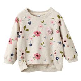 Venta al por mayor de Niños Floral Jersey Suéter Cuello barco Manga larga Bebés Niñas Ropa de diseño Niño Primavera Verano Swing Hem Corto Frente Largo Atrás 3-7T