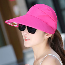 hats for big heads 2019 - Hot sale Sun Hats sun visor Hats for women with big heads beach hat UV protection for women 2017 cheap hats for big head