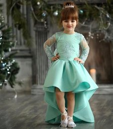 flower girl dresses turquoise white NZ - Turquoise High Low Girls Pageant Gowns Lace Appliques Sheer Long Sleeves Flower Girl Dresses For Wedding Baby Birthday Party Dress4655