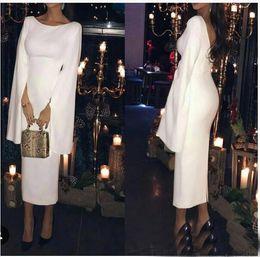 White Classic Dress Design NZ - 2018 Unique Design Saudi Arabia White Satin Evening Dresses with Cape Tea Length Formal Evening Gown Vestidos De Formatura Longo